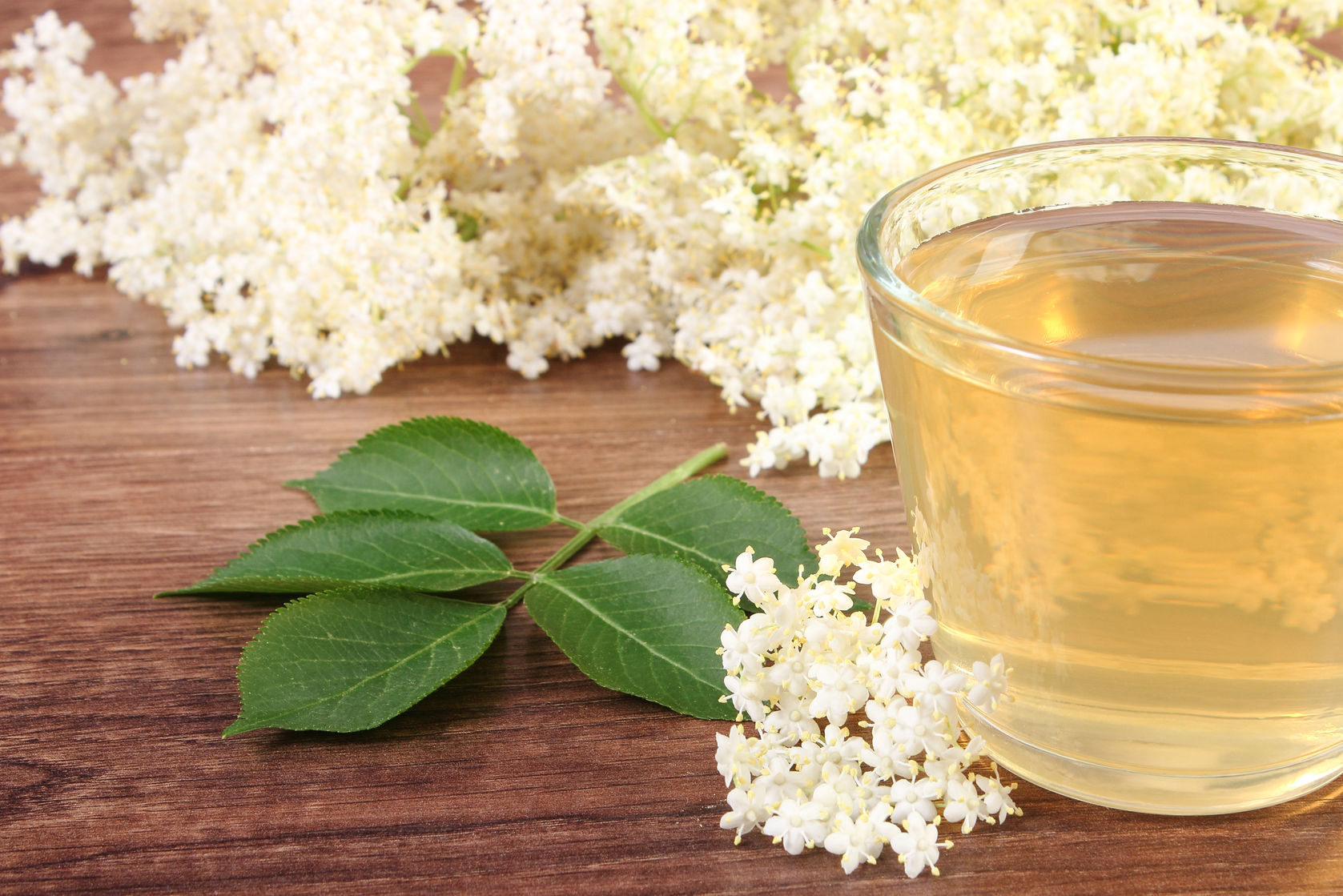 61807219 - glass of refreshment healthy juice and elderberry flowers on rustic board, alternative medicine and therapy